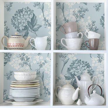 Carta Adesiva per Mobili - Hortensia Vintage Kitchen floral pattern
