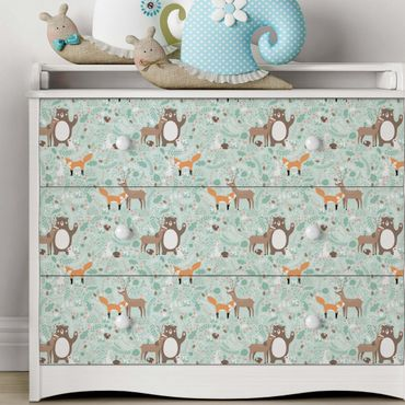 Carta Adesiva per Mobili - Children Pattern Forest Friends with forest animals