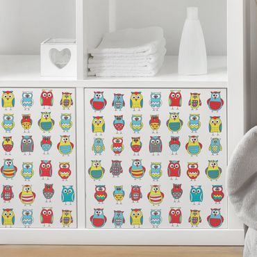 Carta Adesiva per Mobili - Children's pattern with various owls