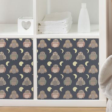 Carta Adesiva per Mobili - Night Owl pattern with moon phases