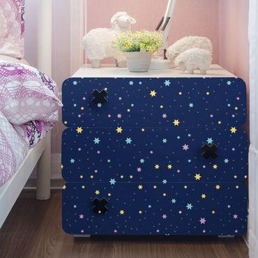 Carta Adesiva per Mobili - Nightlights children pattern with colorful stars