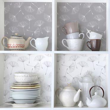 Carta Adesiva per Mobili - Dandelion pattern set in agate grey and polar white