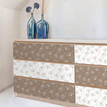 Carta Adesiva per Mobili - Dandelion pattern in mocha and polar white