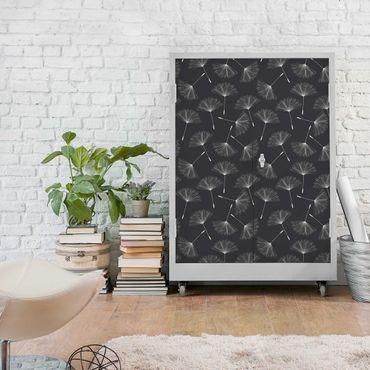 Carta Adesiva per Mobili - Dandelions pattern white dark gray