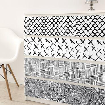 Carta Adesiva per Mobili - Set of 4 modern brushstrokes patterns