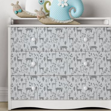 Carta Adesiva per Mobili - Sweet deer pattern in different shades of gray
