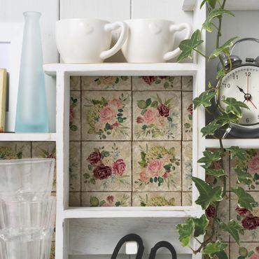 Carta Adesiva per Mobili - Vintage Roses And Hydrangeas