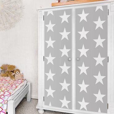 Carta Adesiva per Mobili - White Stars on Grey