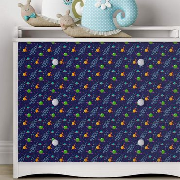 Carta Adesiva per Mobili - Space children pattern with planets and stars