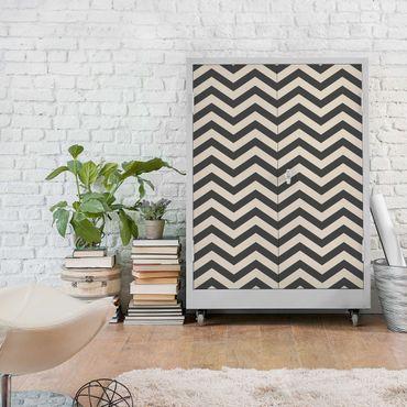 Carta Adesiva per Mobili - Zigzag stripe pattern crème anthracite