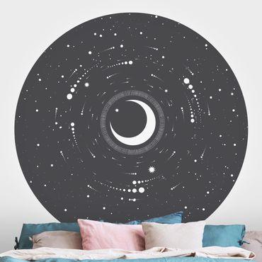 Carta da parati rotonda autoadesiva - Luna nel cerchio stella