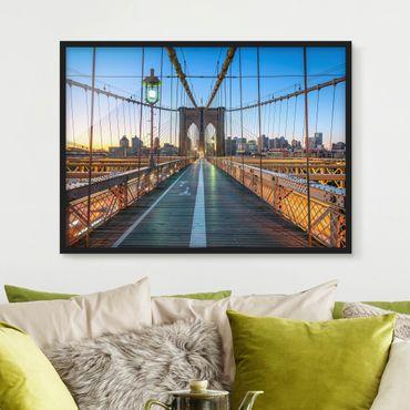 Poster con cornice - Al mattino vista del ponte di Brooklyn