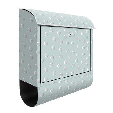 Cassetta postale - Motivo con punti e cerchi su grigio blu