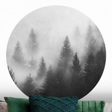 Carta da parati rotonda autoadesiva - foresta di conifere nella nebbia nero e nero