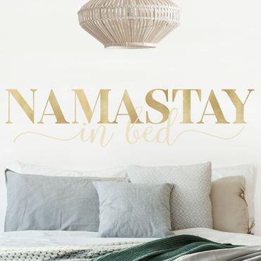 Tatuaggio murale multicolore - Namastay in oro da letto