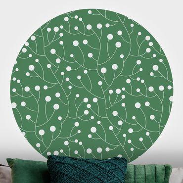 Carta da parati rotonda autoadesiva - la crescita del modello naturale con puntini su verde