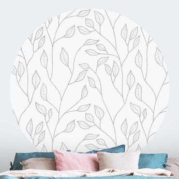 Carta da parati rotonda autoadesiva - rami modello naturale con foglie in Grey