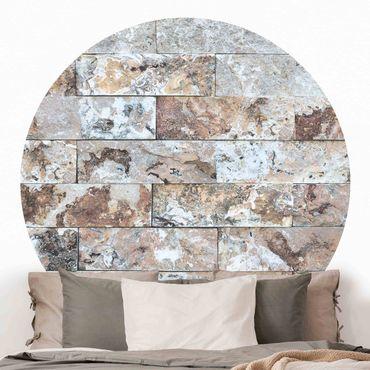 Carta da parati rotonda autoadesiva - marmo naturale muro di pietra