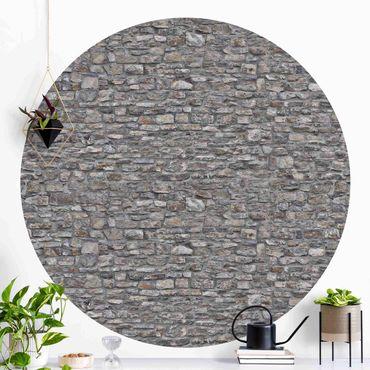 Carta da parati rotonda autoadesiva - in pietra naturale carta da parati vecchio muro di pietra