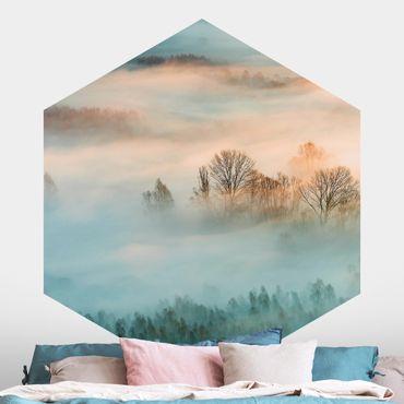 Carta da parati esagonale adesiva con disegni - Nebbia all'alba