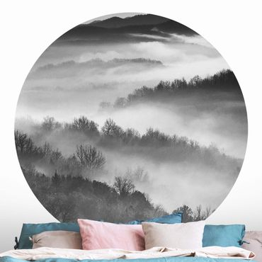Carta da parati rotonda autoadesiva - Nebbia al tramonto Bianco e nero