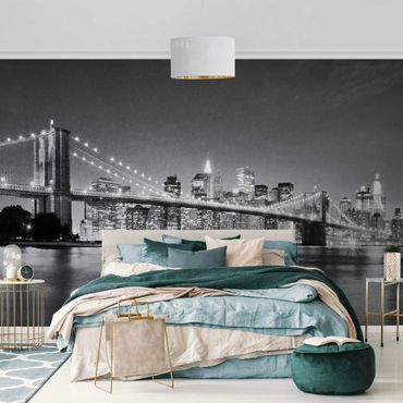 Carta da parati metallizzata - Nighttime Manhattan Bridge II