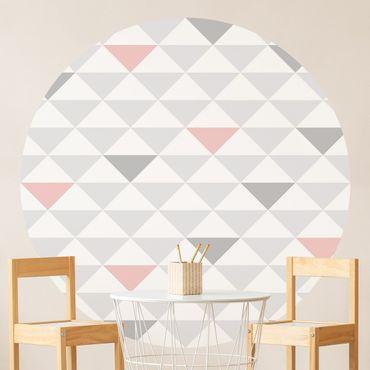 Carta da parati rotonda autoadesiva - No.YK65 triangoli Bianco Rosa Grigio