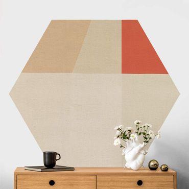 Carta da parati esagonale adesiva con disegni - Quadrato arancione su beige