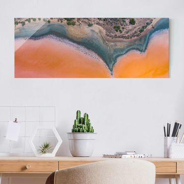 Quadro in vetro - Sponda del lago arancione in Sardegna