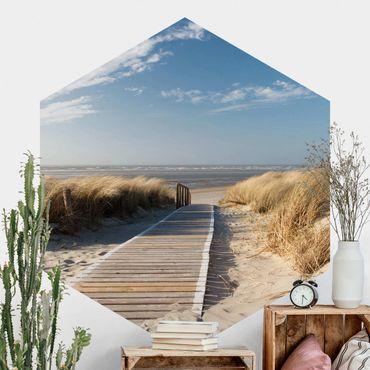Carta da parati esagonale adesiva con disegni - Spiaggia del mar Baltico