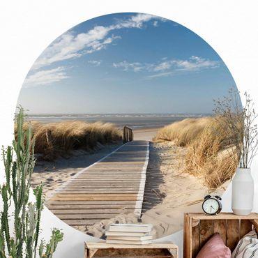 Carta da parati rotonda autoadesiva - spiaggia del Mar Baltico