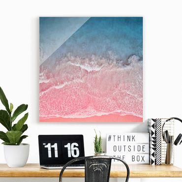 Quadro in vetro - Oceano in rosa