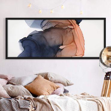 Poster con cornice - Ocean Drops Blue-Arancio con oro