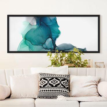 Poster con cornice - Turchese oceandrescente con oro