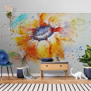 Carta da parati metallizzata - Painted Sunflower