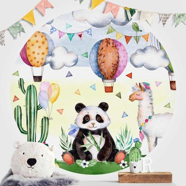 Carta da parati rotonda autoadesiva - Panda e acquarello Lama