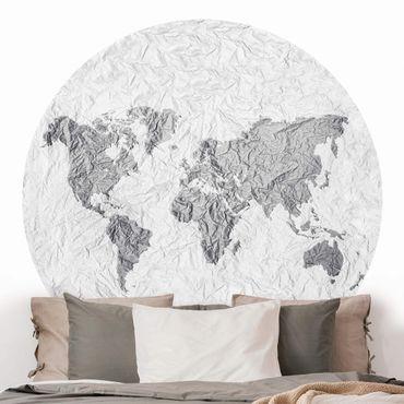 Carta da parati rotonda autoadesiva - Carta mappa del mondo Grigio Bianco