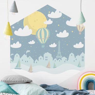 Carta da parati esagonale adesiva con disegni - Parigi con stelle e mongolfiere