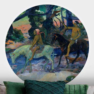 Carta da parati rotonda autoadesiva - Paul Gauguin - The Flight