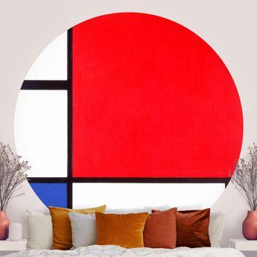 Carta da parati rotonda autoadesiva - Piet Mondrian - Composizione Rosso Blu Giallo