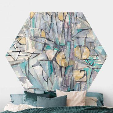 Carta da parati esagonale adesiva con disegni - Piet Mondrian - Composizione X