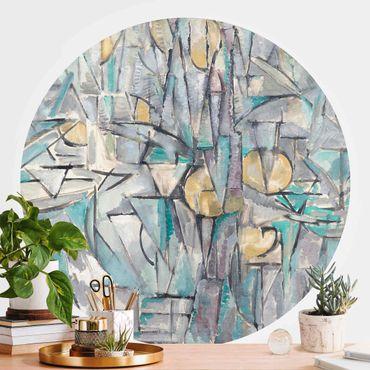 Carta da parati rotonda autoadesiva - Piet Mondrian - Composizione X