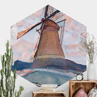 Carta da parati esagonale adesiva con disegni - Piet Mondrian - Mulino a vento