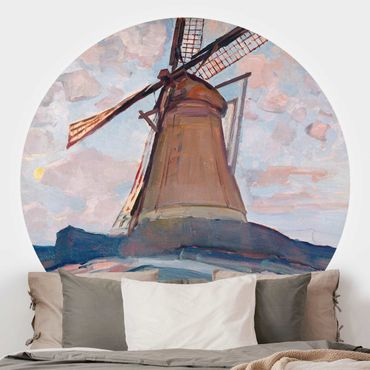 Carta da parati rotonda autoadesiva - Piet Mondrian - Windmill