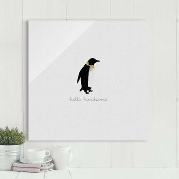 Quadro in vetro - Citazione pinguino Hello Handsome