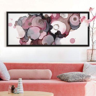 Poster con cornice - Gocce beige rosa con oro rosa