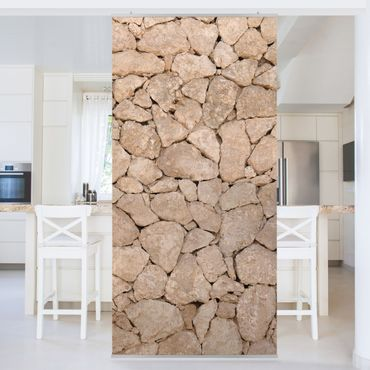 Tenda a pannello Apulia Stone Wall - Old stone wall of large stones 250x120cm