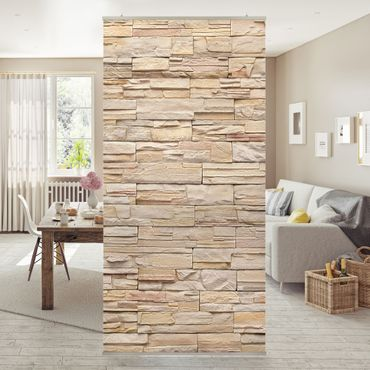 Tenda a pannello Asian Stonewall - Large brigth stone wall of cosy stones 250x120cm