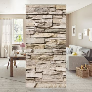 Tenda a pannello Asian Stonewall - Stone wall with big bright stones 250x120cm