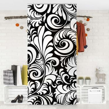 Tenda a pannello Black and White Leaves Pattern 250x120cm